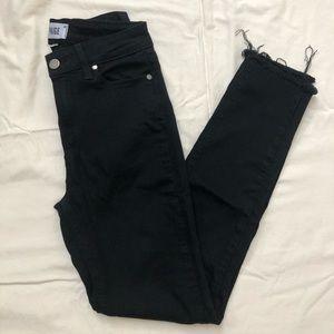 Paige - Hoxton Ankle Black Raw Hem Skinny Jeans